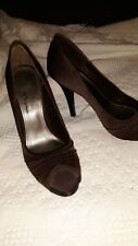 "Women fancy high heel shoes""The touch of nina"" brown satin,open Toe Pump Size 6M"