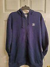 Adidas Men's Fleece Tre Foil Zip Hoodie Navy Blue Size Medium