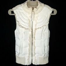 Juicy Couture Women's Size P Small Ivory Cable Knit Down Puffer Vest Coat Jacket