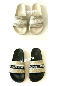 Women MK Michael Kors Demi Flat Slide Sandals Mini MK Logo