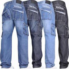 New Mens VON DENIM Casual Cargo Combat Work Pants Jeans Trousers Waist Sizes