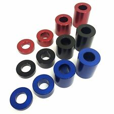 RED BLACK BLUE Anodised Aluminium Spacer - M10 x 20mm OD Bonnet Standoff Collar