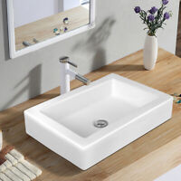 Rectangular Ceramic Bathroom Vessel Sink Above Counter Art Basin w/ Pop-up Drain