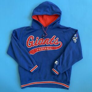 Vintage Starter Hoodie New York Giants NFL Sweatshirt Blue Sz Medium Embroidered