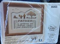 Vtg Creative Circle FATHER Counted Cross Stitch Kit # 1665 NIP (Father Dad Gift)
