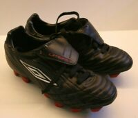 RARE Umbro XAI VII LGE KTK FG Football/Soccer Boots Black boys size UK4 red stud