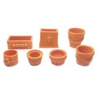 7x Miniature Flower Pots For 1/12 Doll House Landscape Fairy Garden DIY Brown