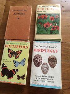 4 VINTAGE OBSERVER BOOKS-BUTTERFLIES,BIRDS EGGS,WILD FLOWERS&WILD ANIMALS OF BI.