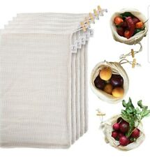 EcoDine Reusable Produce Bags Organic Cotton Grocery Mesh Produce Bags Set of 5