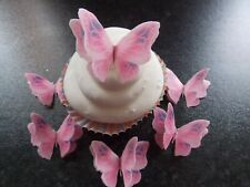 12 PRECUT Double Pink/Lilac Edible wafer paper Butterflies cake/cupcake toppers