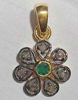 925 Sterling Silver Natural Emerald Gemstone & Pave Diamond Pendant Unisex Gift