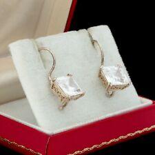 Antique Vintage Art Deco Style 925 Sterling Silver Cubic Zirconia Drop Earrings