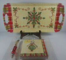 New Kate McRostie Cypress Hostess Gift Set Holiday Tray Napkins Knife Melamine