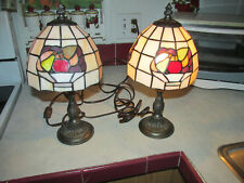 Two Small Tiffany Style Accent Lamps With Fruit Baskets On Shades.