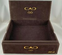 """CAO Cx2 Brown Wooden Cigar Box Covered in Felt 8.5"""" x 6.75"""""""