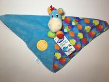 "PLAYGRO Clip Clop Horse Blue w/ Patterns Lovey Security Blanket Mini 12"" x 12"""