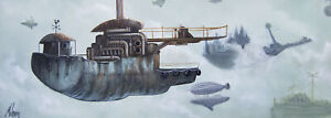 Clogged Airspace by J.K. McGreens Steampunk Blimp Flying Ships Canvas Art Print