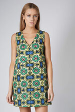 TOPSHOP PETITE TAPESTRY ETHNIC AFRICAN TRIBAL BATIK V FRONT TUNIC DRESS 10 38 6!
