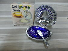 Vintage inox with blue glass Shell butter dish - beurrier - botervloot