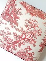"Waverly Pillow Toile Rustic Life Red Cream 16"" Square Rope Trim"
