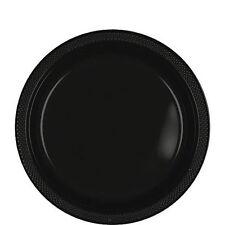 20 assiettes plates en plastique noir Ø 17.8 cm 10125 decoration de table fetes