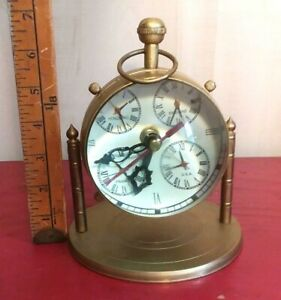 Antique Reproduction Brass Desk Table Nautical Clock None Working For Decor