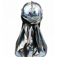 Men's Laser Silky Durags Turban Colorful Shiny Men Headwear Band
