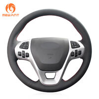Top Black Genuine Leather Car Steering Wheel Cover for Ford Explorer Taurus Edge
