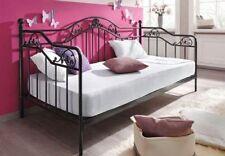 romantisches Tagesbett schwarz 90 x 200 cm Metallbett Bett Jugendbett Einzelbett