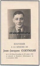 Doodsprentje oorlogsslachtoffer Coeymans ° Sint-Gillis Brussel + Beeskow 1943