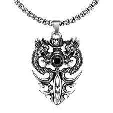 Men's Stainless Steel Double Dragon Sword Pendant Choker Necklace