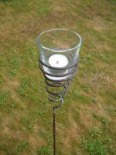 Gartenstecker Teelichthalter Windlicht Gartenfackel aus Metall mit Glas NEU !