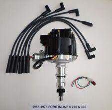 FORD Inline Straight 6 1965-1976 240 300 4.9L HEI Distributor & BLACK Plug Wires