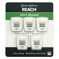 Reach Mint Waxed Dental Floss Johnson & Johnson, Oral Care Flosser,100 yards, 5p