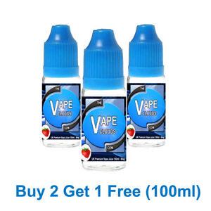 100ml E Liquid Vape Juice 70/30 VG/PG  - 0mg - 1.5mg - 3mg - 6mg Great Flavours