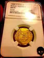 """SPAIN 1588 """"DATED"""" 2 ESCUDOS NGC 55 ONLY 1 KNOWN GOLD COB DOUBLOON COIN TREASURE"""