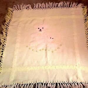 Vtg First Impressions Yellow Teddy Bear Baby Blanket Excellent Condition.