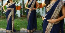 Indian Bollywood Ethnic Bollywood Designer Blue Saree Party Sari Traditional