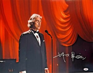 "Andrea Bocelli Autographed 16"" x 20"" Red Curtains Photograph PSA DNA ITP COA"