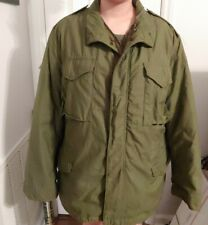 Vintage Mens Large M65 Field Jacket Olive Army Green Quilted Lining - Cold Coat