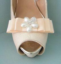 2 clip con fiocco in raso color pesca per scarpe con Perle & Diamante Fiore Centro