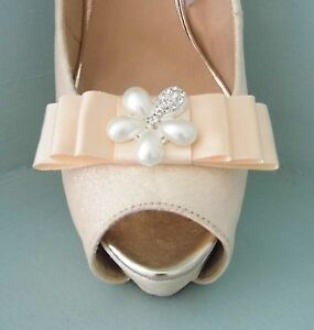 2 Peach Satin Bow Clips for Shoes with Pearl & Diamante Flower Centre