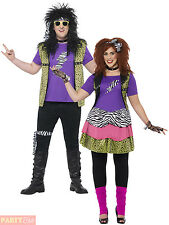 Adults 80s Rock Star Costume Mens Ladies Plus Size Fancy Dress Celebrity Outfit