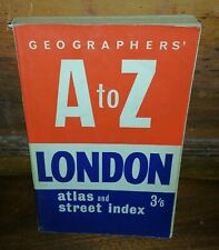 A to Z LONDON Atlas and Street Index 3/6 Geographers Vintage Paperback Good