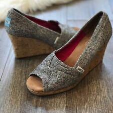 Toms Grey Tweed Fabric Wedge Heels Peep Toe Open Toe Stella Cork
