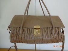*** MIU MIU *** by PRADA Matelasse Lux Bauletto Bag Beige Gold with Strap