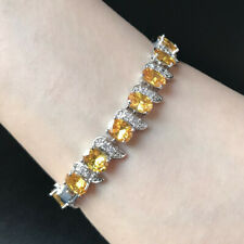 "7""Oval Yellow Cubic Zirconia CZ White Gold Plated Tennis Bracelet Gift"