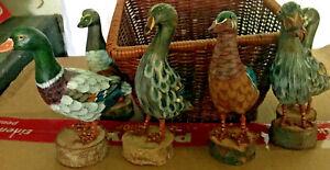 DDR Holzvase,eingebranntes Muster+6 Deko Enten,Holz, natürlich, ausdrucksstark