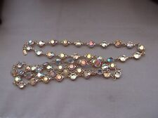 "Necklace--Vintage Swarovski-- Aurora Borealis bezels gold metal--has ""Swan""--34"""