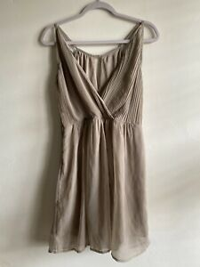 TFNC LND | Size M | Beige Taupe Wedding Guest Day Sleeveless Wrap Pleated Dress